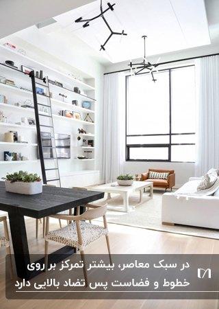 آپارتمانی به سبک معاصر با لوازم سفید و مشکی و قفسه های دیواری سفید اطراف تلویزیون