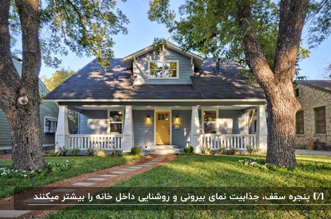 خانه ای در فضای باز با نمای آبی و سقف سرمه ای به همراه یک پنجره روی سقف