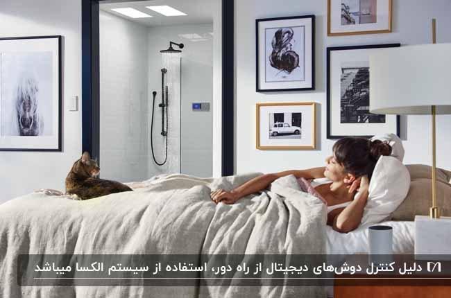 دوش دیجیتالی در حمام شیشه ای داخل اتاق خواب با کنترل از راه دور