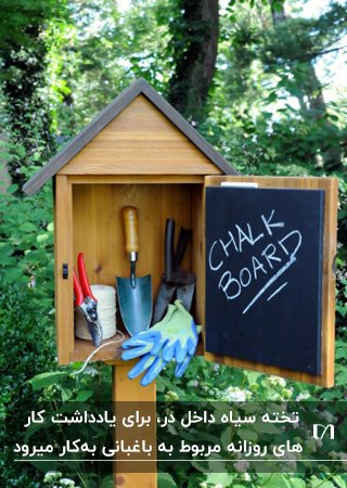 یک آلونک باغبانی چوبی کوچک و پایه دار به همراه تخته سیاه داخل درش