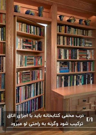تصویر یک اتاق کار با کتابخانه بزرگی که بخشی از آن در یک اتاق مخفی شده است