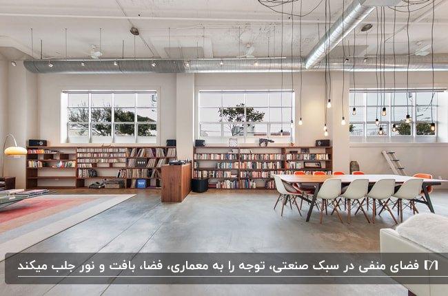 خانه ای به سبک صنعتی با فضای اپن، قفسه های کتاب زیر پنجره و میز و صندلی های سفید غذاخوری