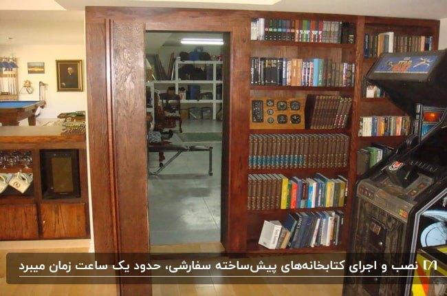 تصویر یک کتابخانه پیش ساخته چوبی برای اتاق مخفی