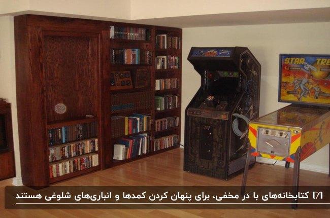 تصویر یک کتابخانه پیش ساخته با درب چرخان برای اتاق مخفی پشتش
