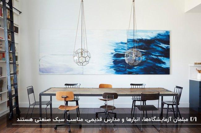 اتاق غذاخوری به سبک صنعتی با میز چوبی و فلزی و انواع صندلی ها با یک تابلوی نقاشی سفید و آبی