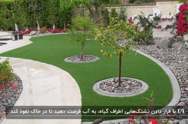 تصویر محوطه سازی باغچه و حیاط با تشک های آبیاری گرد