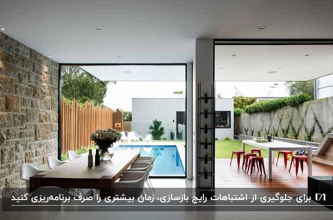 میزغذاخوری چوبی کنار دیوار شیشه ای رو به استخر و فضاسازی حیاط