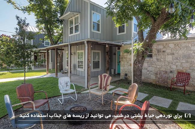 تصویر حیاط پشتی خانه ای که با صندلی ها چیدمان شده و برای شب هم ریسه آویزان کرده اند
