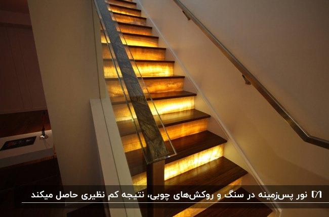 نورپردازی راه پله ای با سطح چوبی پله و روشنایی پس زمینه پله ها