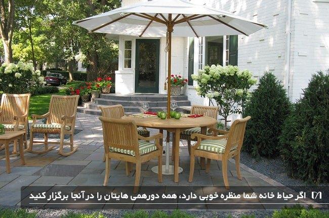 حیاط جلویی خانه ای که با صندلی چیدمان شده است و مناسب برای مهمانی می باشد