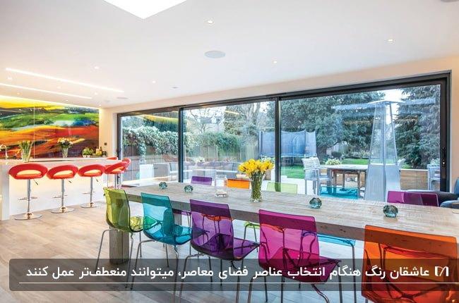 بخشی از یک خانه معاصر با میز غذاخوری چوبی و صندلی های رنگی شفاف مقابل یک دیوار شیشه ای