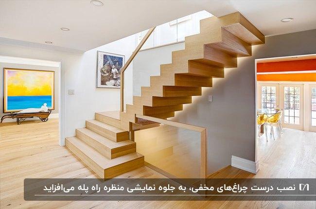 راه پله چوبی با حفاظ شیشه ای به همراه نورپردازی مخفی پله ها