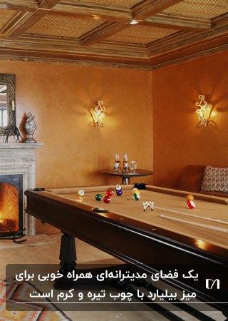 تصویر یک اتاق بازی به سبک مدیترانه با میز بیلیارد چوبی مقابل شومینه هیزمی