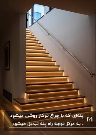 نورپردازی راه پله ای چوبی با چراغ های توکار