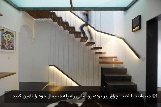 نورپردازی راه پله چوبی ای که با استفاده از چراغ های نرده صورت میگیرد