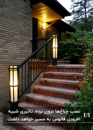 نورپردازی راه پله آجری با نرده فلزی و روشنایی که داخل نرده قرار دارد