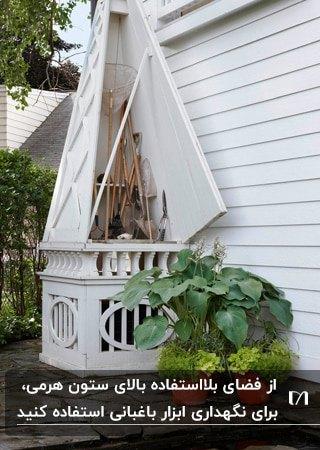 آلونک باغبانی خلاقانه ای در ستون هرمی سیستم تهویه به رنگ سفید