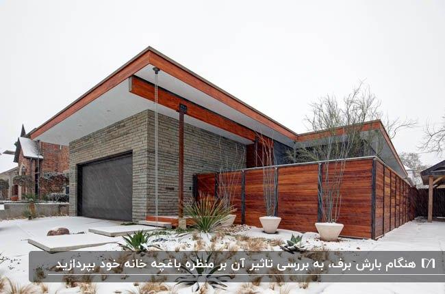 تصویر نمای خانه ای ترکیبی از چوب و سنگ با محوطه سفید و برفی