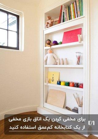 قفسه های باریک و کم عمق کتابخانه سفیدی در اتاق کودک