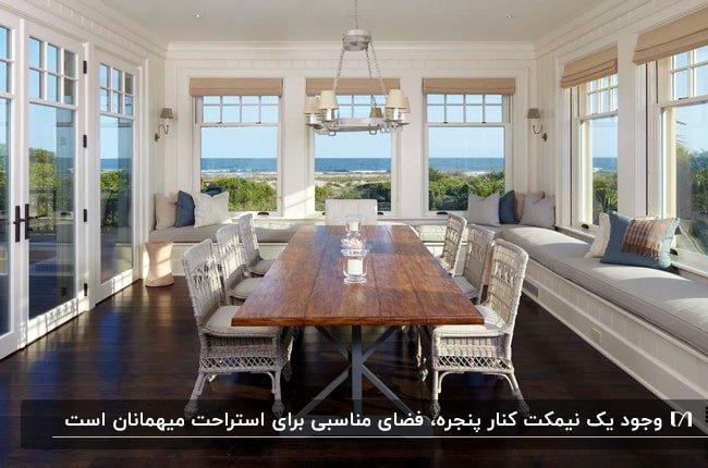 اتاق آفتابگیر بزرگی با نیمکت های طولانی زیر پنجره و میز و صندلی های غذاخوری