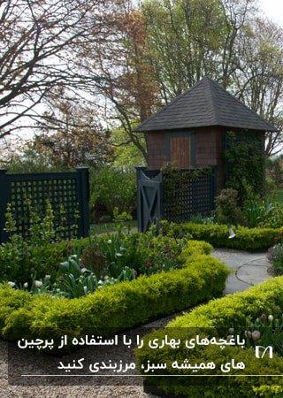 محوطه سازی حیاطی که باغچه هایش با پرچین های همیشه سبز مرتب شده اند