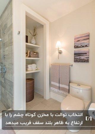 سرویس بهداشتی مدرنی با سقف کم ارتفاع، قفسه های دیواری و توالت فرنگی با مخزن کوتاه