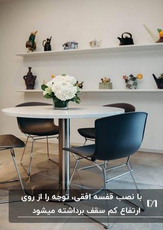میزغذاخوری گرد سفید با صندلی های مشکی مقابل دیوار کوتاهی با قفسه های افقی سفید