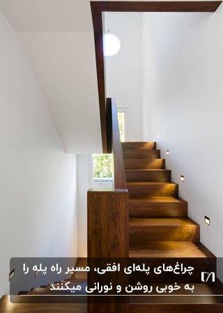 نورپردازی راه پله چوبی با چراغ هایی که در امتداد پله نصب میشوند