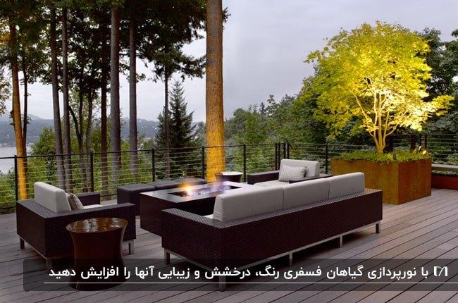 تصویر روف گاردنی با مبلمان، گودال آتش و باغچه فسفری نورپردازی شده زیبایی
