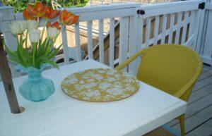 استفاده از زیر بشقابی ، گلدان و صندلی با رنگ های مشابه