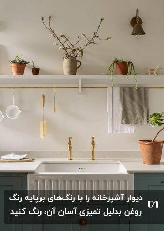 قفسه سفید بالای سینگ سفید به همراه کابینت سبز تیره در آشپزخانه