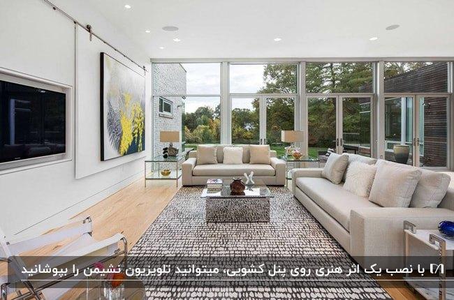 نشیمنی با یک دیوار شیشه ای و یک دیوار به همراه پنل کشویی با اثر هنری برای مخفی کردن تلویزیون