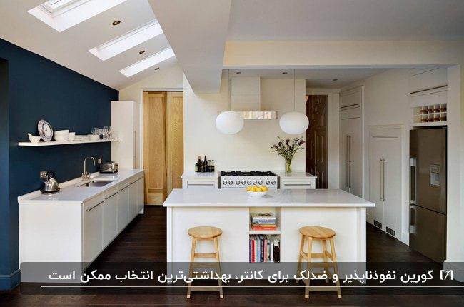 آشپزخانه ای با کابینت های سفید و دیوار سرمه ای رنگ و دو چهارپایه چوبی برای کانتر