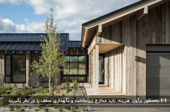 تصویری از نمای بیرونی خانه ای چوبی با پنجره های فریم مشکی و سقف شیب دار مشکی