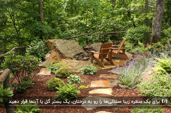 تصویری فضاسازی حیاطی با دو صندلی تاشو چوبی رو به درختان