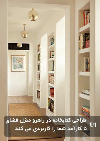 تصویر قفسه های کتاب در راهروی یک خانه