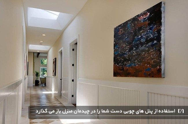 تصویر پنل های چوبی استفاده شده در راهروی یک خانه