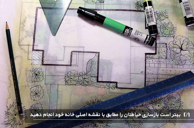 تصویر نقشه ای از فضای باز قبل شروع بازسازی
