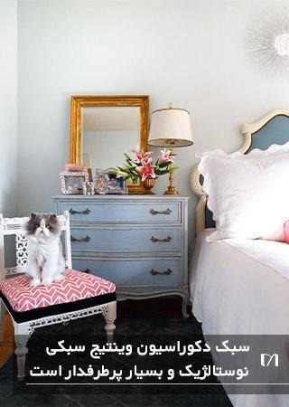 اتاق خوابی الهام گرفته از سبک وینتیج با به کار بردن عناصر قدیمی در کنار عناصر جدید