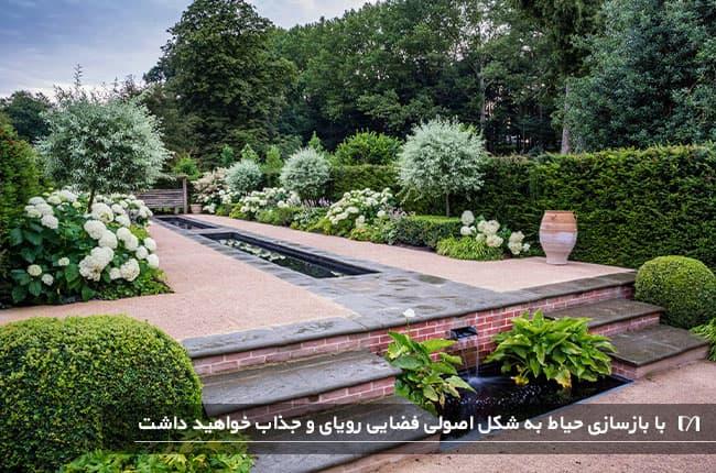 تصویر حیاط منزل قبل از بازسازی و پر از گیاهان زیبا