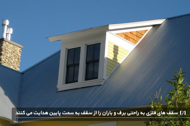 تصویری از نمای خارجی یک خانه با سقف فلزی موج دار و اتاق زیر شیروانی