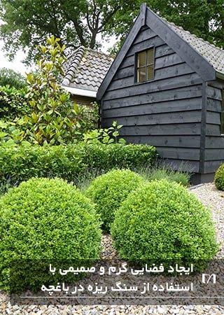 استفاده از سنگ ریزه های ماسه ای رنگ به جای کود در باغچه هلندی