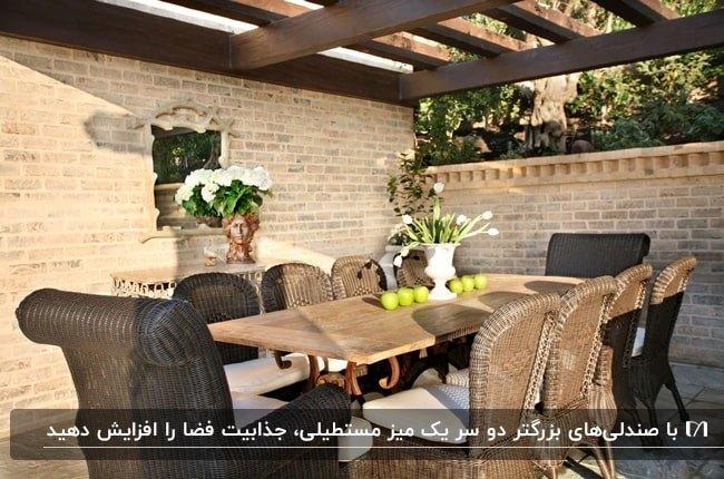 بخش غذاخوری پاسیویی با میز مستطیلی و صندلی های حصیری قهوه ای
