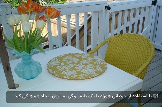 پاسیویی با میز سفید، صندلی زرد، زیربشقابی سفید و زرد و گلدان شیشه ای آبی
