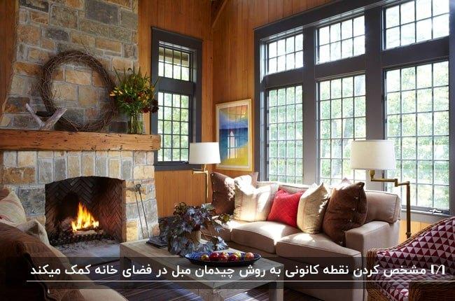 نشیمنی به سبک روستایی با دیوار چوبی و شومینه سنگی و چیدمان مبل به عنوان نقطه کانونی