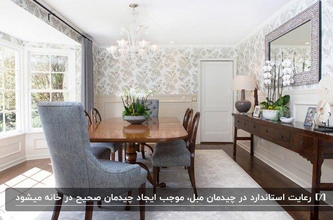 تصویر چیدمان مبلمان یک اتاق غذاخوری با میزچوبی و صندلی های طوسی