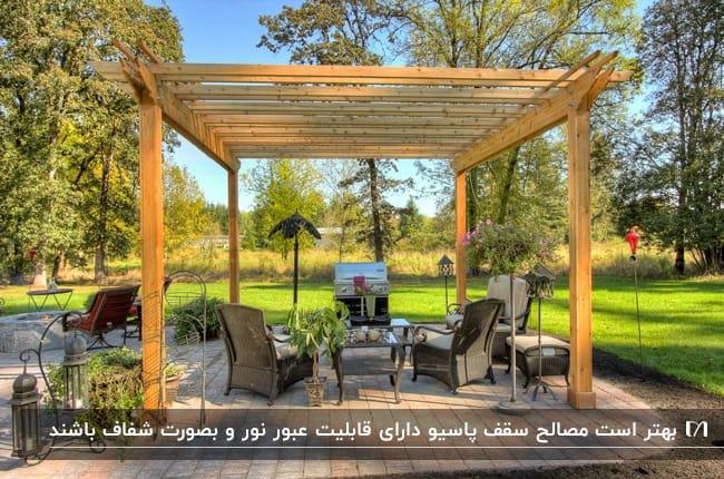 پاسیویی با سقف نیمه شفاف چوبی و مبلمان حصیری