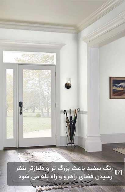 راهرویی با دیوارهای سفید رنگ و درب شیشه ای با قاب سفید