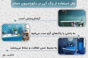 اینفوگرافی رنگ آبی در دکوراسیون حمام به همراه سه تصویر با همین تم