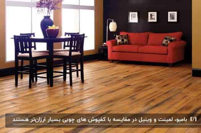 کفپوش چوبی برای یک نشیمن با مبلمان قرمز و میز نهارخوری